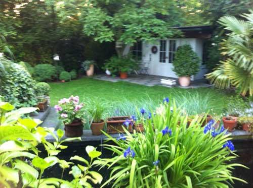 Сад с ландшафтным дизайном, пруд, террасы